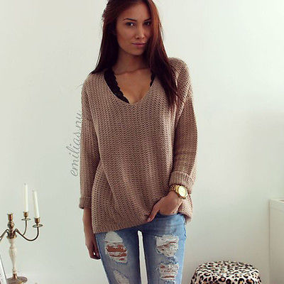 442a633f2c44cf Winter Knitted Sweater Women 2018 Autumn White Pullover Sweater Sexy Deep v  Neck Long Sleeve Jumpers Pull Femme sweter mujer