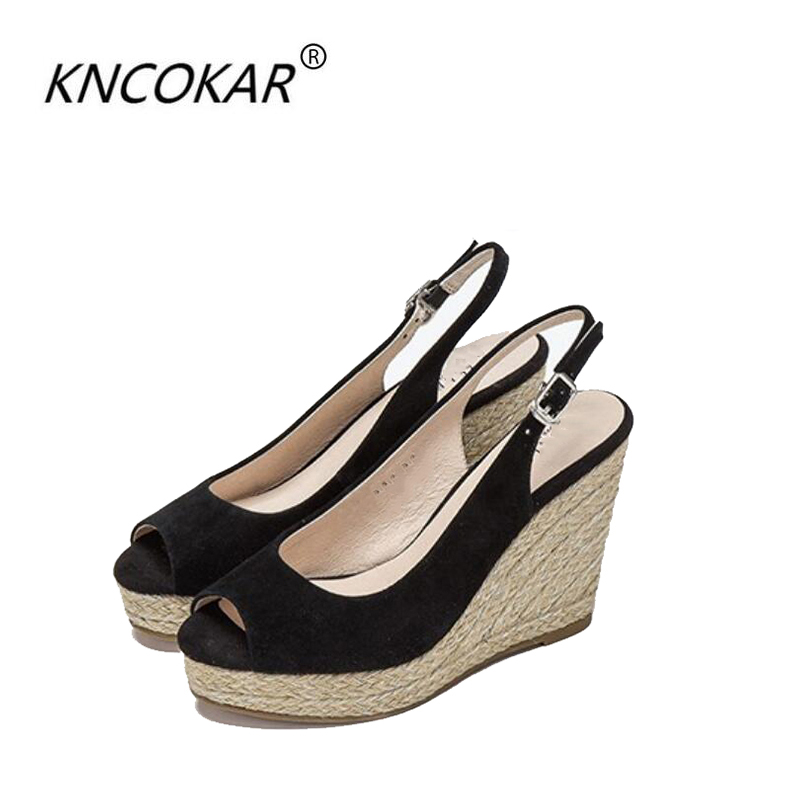 KNCOKAR 2018 New style wedges with fish mouth shoes golden silk rope sandal women s small