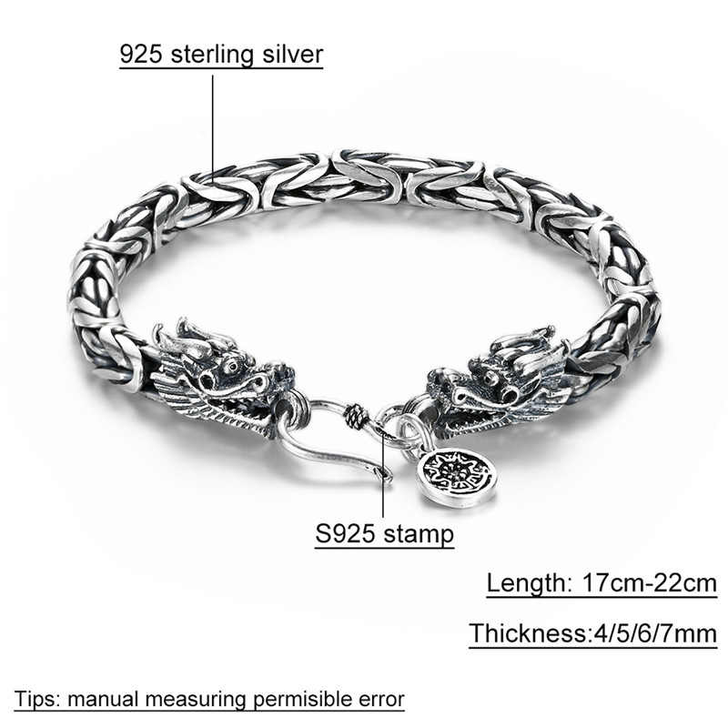 Image 5 - V.YA Real 925 Sterling Silver Dragon Bracelet for Men Male Vintage Heavy Bangles Bracelets Homme Silver Jewelry-in Chain & Link Bracelets from Jewelry & Accessories