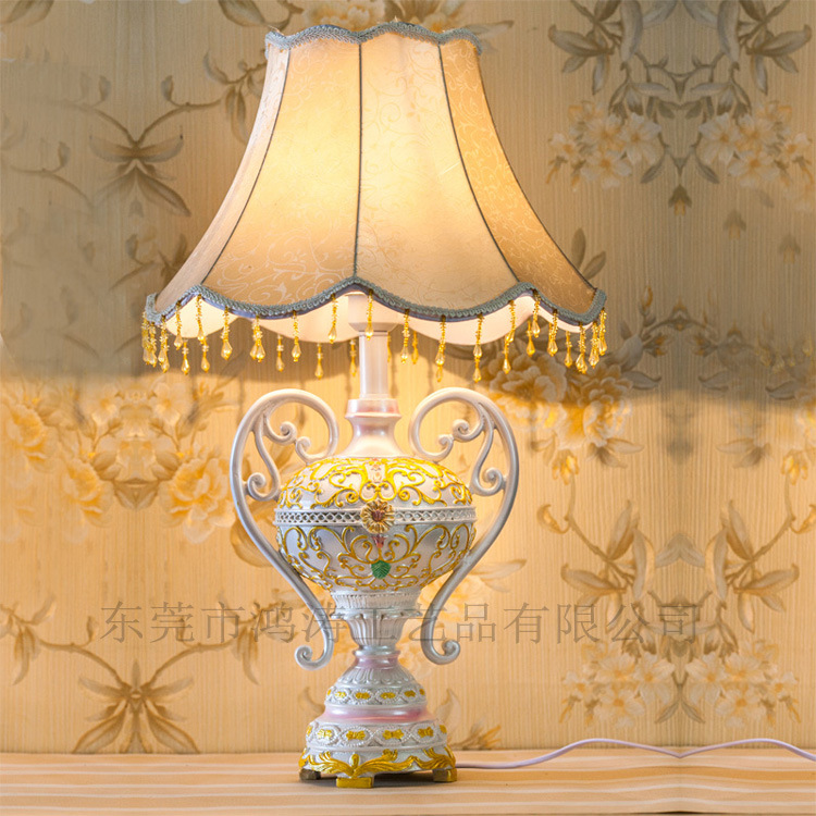 TUDA 40.5X71.5cm Free Shipping European Style Carving Resin Table Lamp High Grade Fabric Lampshade Table Lamp For Bedroom Foyer free shipping european high grade furniture jewelry natural resin candlestick rose upholstery candlestick wedding accessories