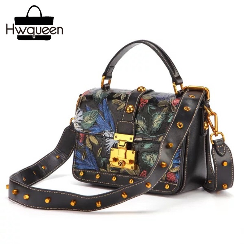 Embossing Design Genuine Leather Women Flower Purse Wide Rivets Strap Female Studs Shoulder Bag Lady Messenger Bag Mini Handbag ladylike women s tote bag with solid color and daisy embossing design