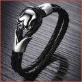 Trendy Genuine Leather Bracelet men,Punk SKELETON G SKULLS Star Bracelets Bangles,Charm Braclets for Women Men Jewelry