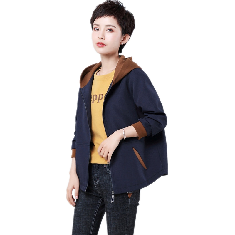 2019 New Arrival Spring Short Jacket Women Patchwork Hooded Outerwear Plus Size 4xl Zipper Ladies Long Sleeve Oversize Jacket