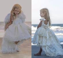 2017 Ivory High Low Lace Communion  Flower Girls Dresses For Beach Weddings Girl's Communion Dress Girls Dress vestido longo