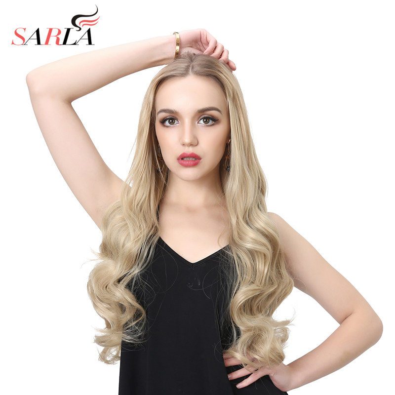 SARLA 26 Long Curly U Part Half Wig For Natural Hair Synthetic Heat Friendly Fiber Wig Full Head Clip in Hair Extensions Wig