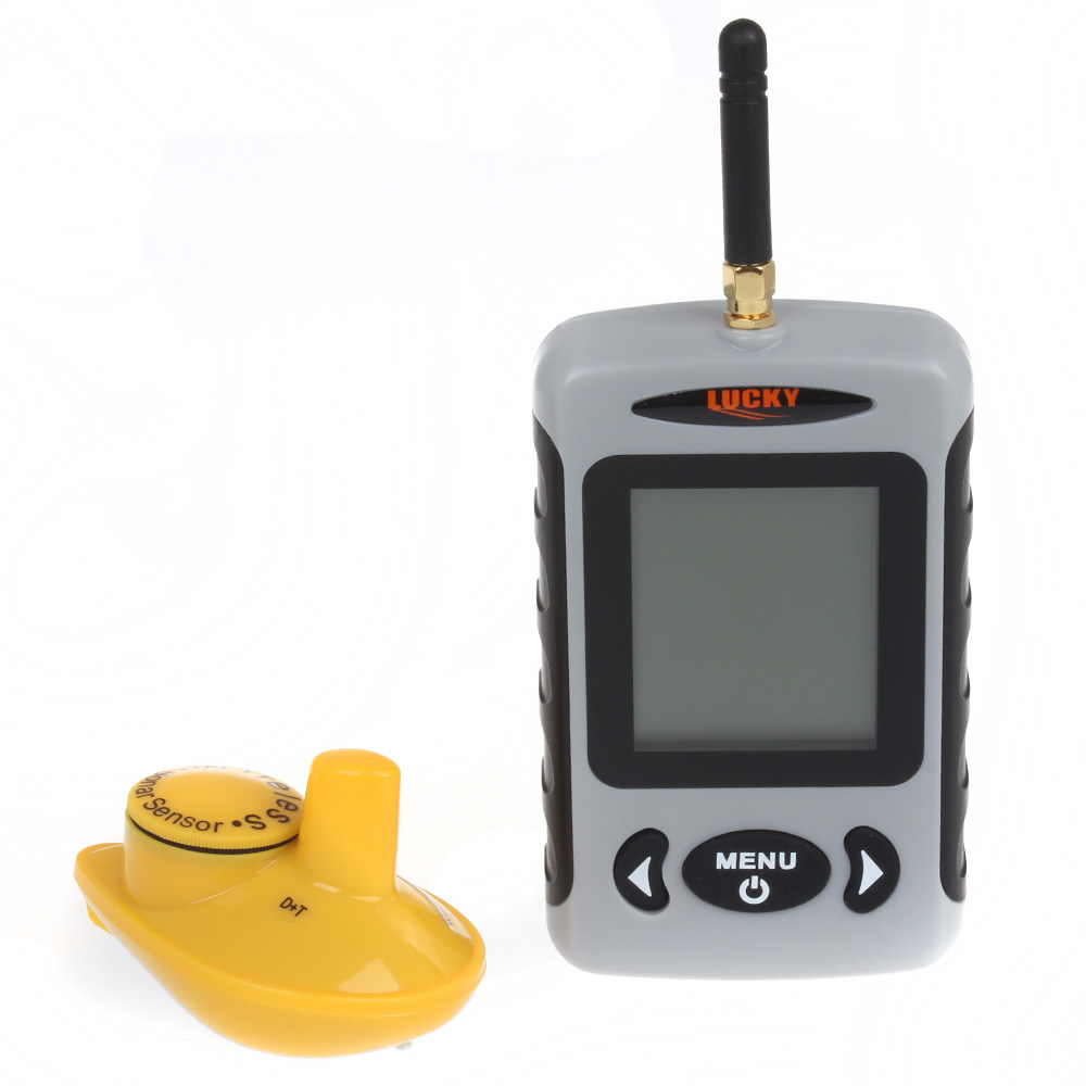 Lucky FFW718 Wireless Portable Finder de pește 40M / 120FT Sonar Depth Sounder Alarmă Ocean River Lake Meniul Rusesc Opțional
