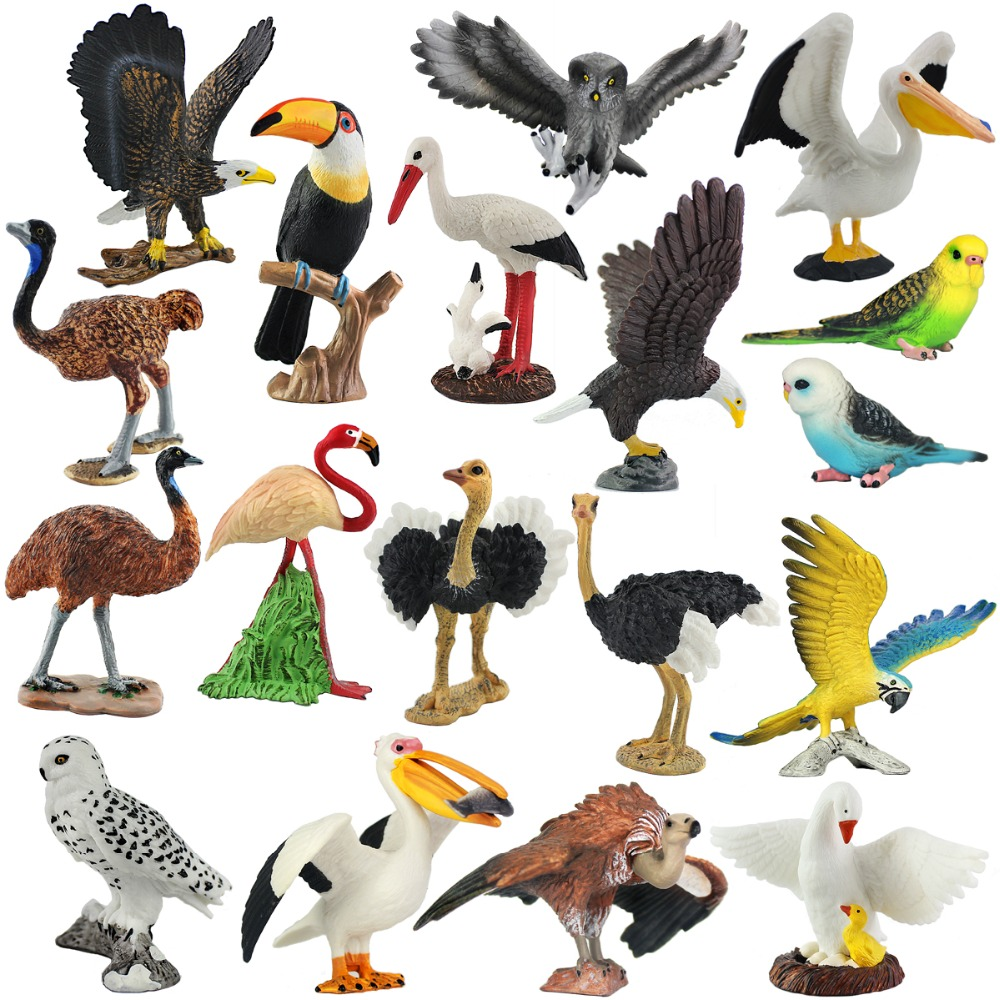 Wiben Aves Pelican Bald Eagle Snowy Owl Common Ostrich Parrot Animal Model  Action  Toy Figures Learning  Education Birds Gifts