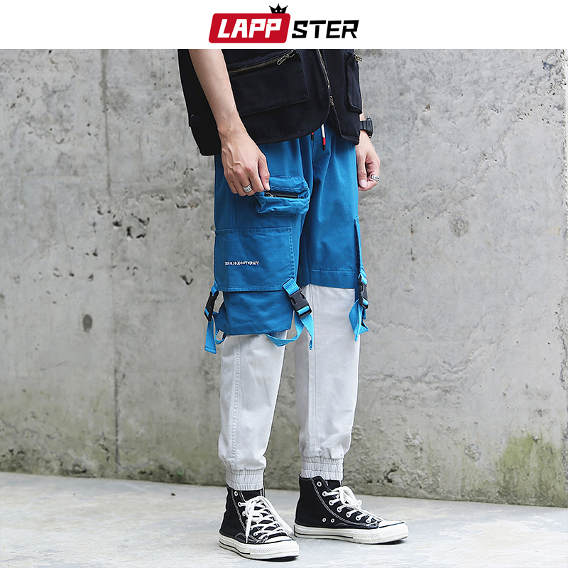 LAPPSTER Color Block Cargo Pants Streetwear 2020 Ribbons Joggers Pants Patchwork Track Pants Mens Overalls Fashion Trousers INS
