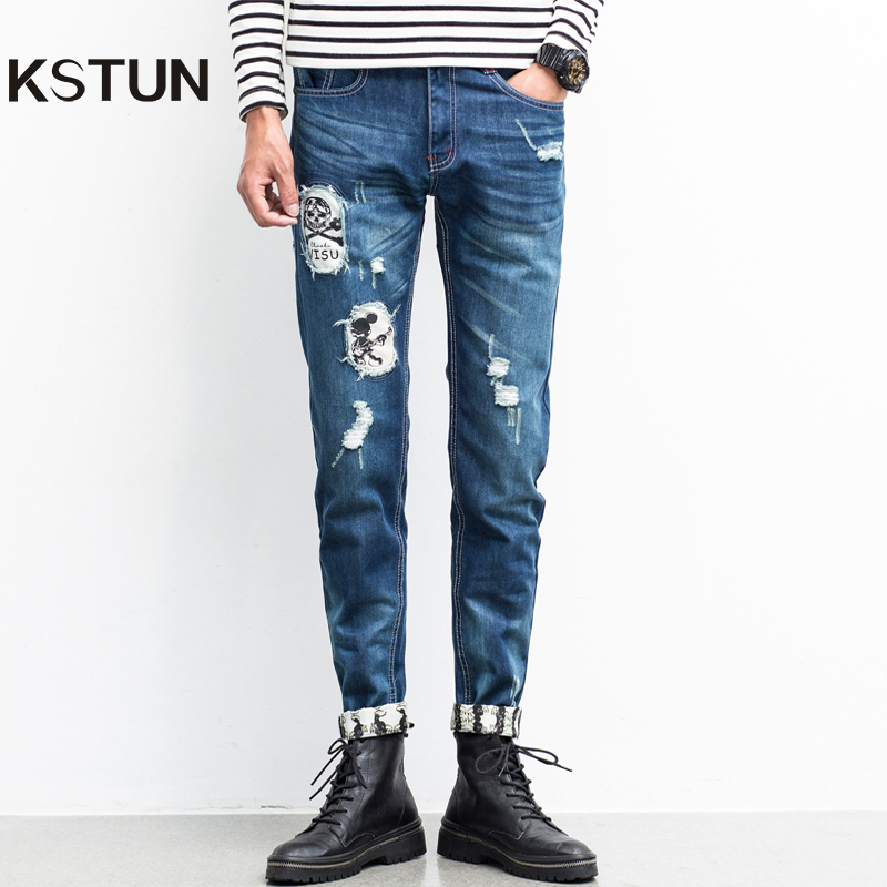 KSTUN Men Ripped Jeans Skull Patched Straight Slim Fit Biker Jeans Broken Man Hip Hop Casual Denim Pants Torn Male Jeans Cowboys
