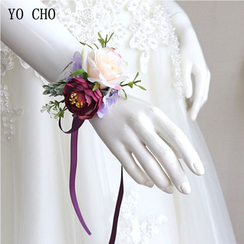 YO CHO Rose Silk Wrist Corsage Cuff Bracelets Bridesmaid Wrist Corsage Bracelet Flower Wedding Decoration Marriage Wrist Corsage