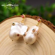 Женские серьги подвески с жемчугом glseevo свадебные ручной