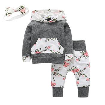 3 sztuk maluch dziewczynka ubrania z długim rękawem kwiaty kangur kieszeń z kapturem Top i spodnie strój z pałąkiem na głowę zestaw odzieży dla niemowląt tanie i dobre opinie EGHUNOOY COTTON Moda Zestawy Swetry Pełna REGULAR Pasuje prawda na wymiar weź swój normalny rozmiar Czesankowej Vest