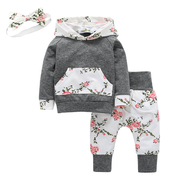 584e2f7366ae7 3Pcs Toddler Baby Girl Clothes Long Sleeve Flowers Kangaroo Pocket Hoodie  Top and Pants Outfit with Headband Infant Clothing Set