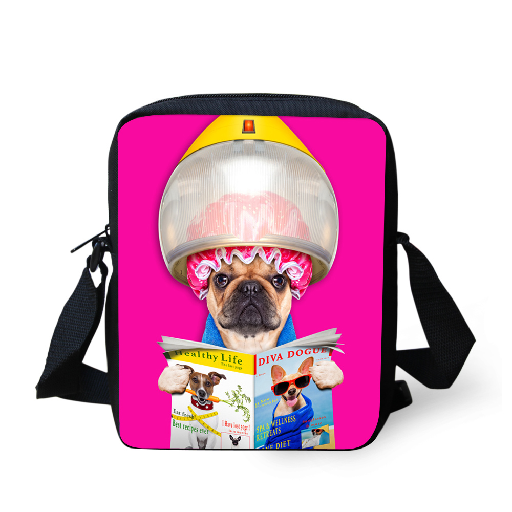 Brand Design Women Messenger Bags Pet Pug Dog Animals Shoulder Bag for Children Kids Crossbody Bag Girls Gift Travel Bag Handbag