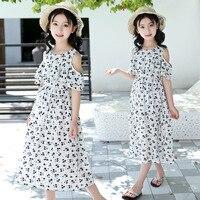 2019 Summer Boho Dress Floral Off Shoulder Dress Kids Baby Girls Flower Party Girls Formal Dress Beach Sundress Clothes