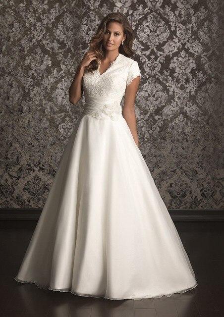 a98ca0433397 Simple A-line Long Modest Wedding Dresses With Cap Sleeves Buttons Back Bridal  Gowns V Neck Lace Organza Vestidos De Novia
