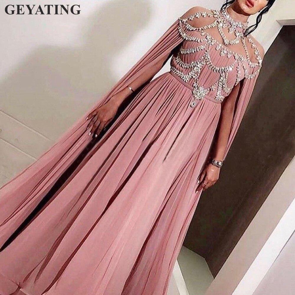 Arabic Pink Chiffon Long Evening Dresses 2019 Elegant Women Celebrity Caftan Dubai Crystal High Neck Prom Formal Party Dress