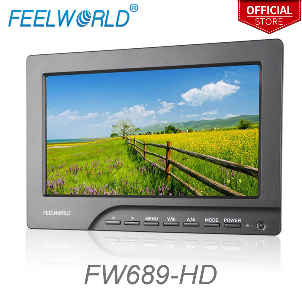 Feelworld FW689-HD 7 Inch Camera Field Monitor with HDMI Peaking Focus Assist VGA Photography Studio External LCD Monitor