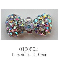 free ship (10 pieces/pack) 3D silver big luxury bow tie Alloy AB color rhinestone Nail Art iphone mobile Glitter Decoration