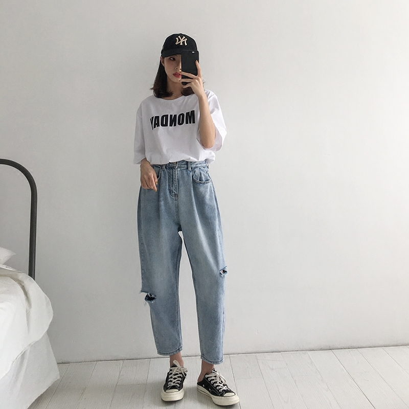 WQJGR 2018 Summer Holes Haren Pants Jeans Woman Easy Long Fund Loose And Comfortable Nine Part Pants 2