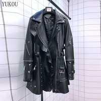 European Style Natural 100% Sheepskin Women Coat 2019 Winter Fashion Sheepskin Genuine Leather Long Windcoat Female Outwear