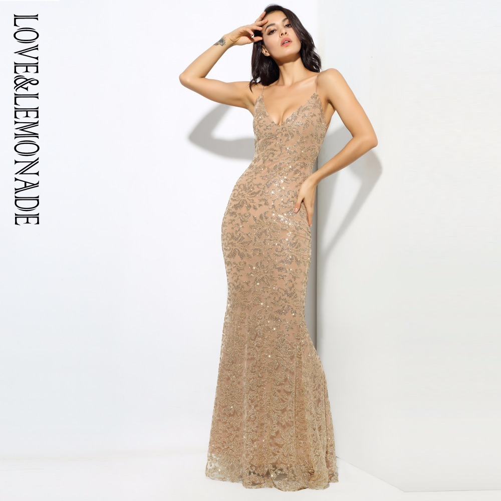 Love Lemonade Gold Deep V Neck Open Back Flower Ribs Long Dresses LM0300