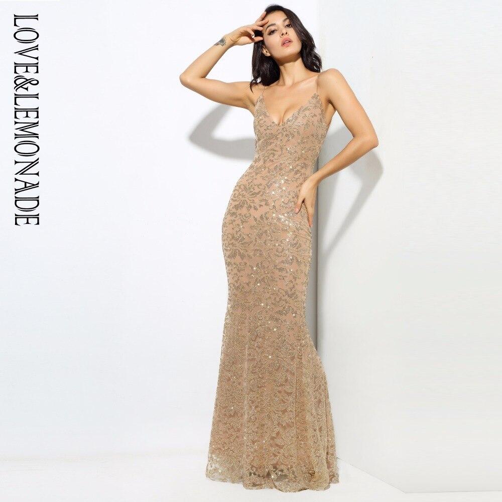 Love & Lemonade złoty głębokie V Neck otwórz powrót kwiat żebra długie sukienki LM0300 w Suknie od Odzież damska na  Grupa 1