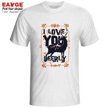 цены на I Love You Deerly T-shirt Funny Motto Design Style Casual Pop T Shirt Rock Punk Brand Women Men Top Tee  в интернет-магазинах