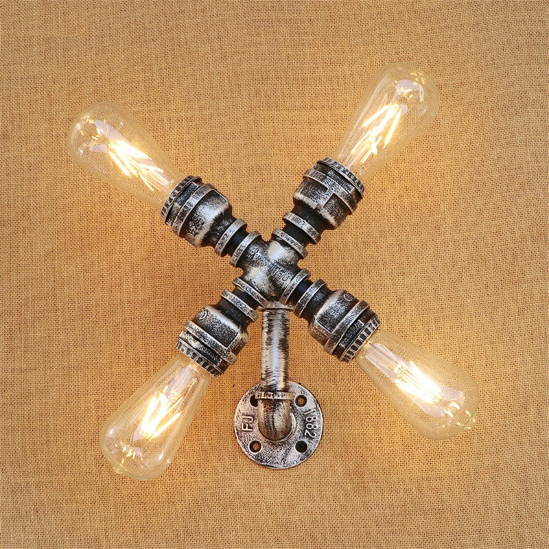 American Loft Style Industrial Vintage LED Wall Light Fixtures Iron Water Pipe Edison Wall Sconce E27 Wall Lamp Home LightingAmerican Loft Style Industrial Vintage LED Wall Light Fixtures Iron Water Pipe Edison Wall Sconce E27 Wall Lamp Home Lighting