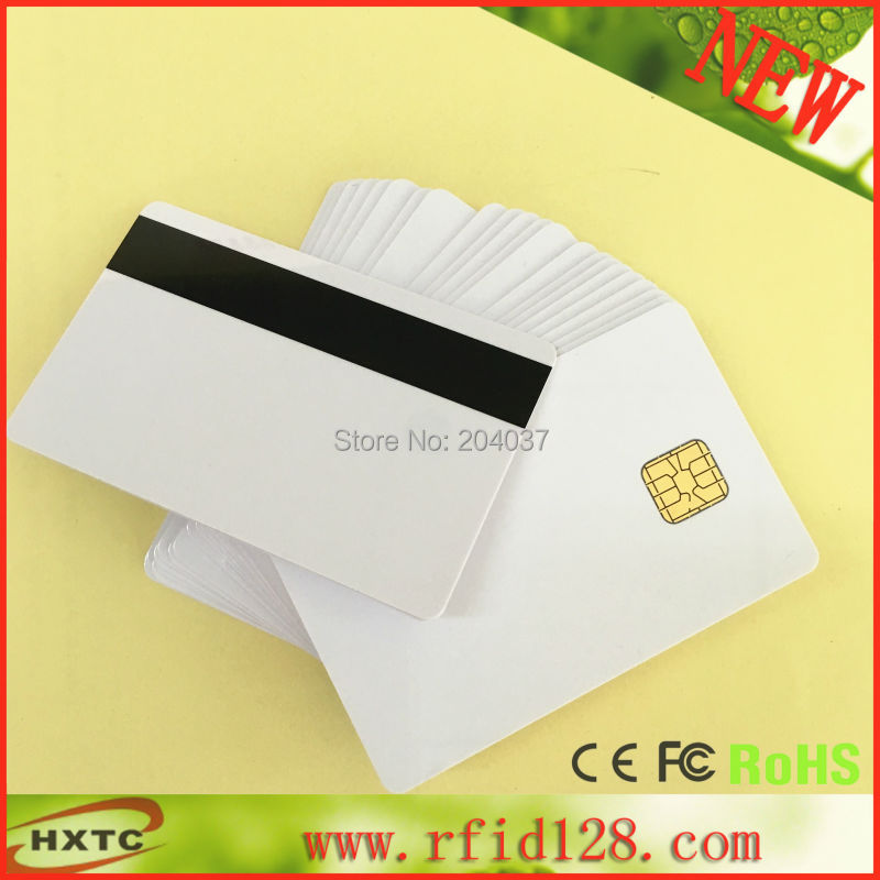 Free Shipping 100PCS/Lot Contact Sle4428 Chip Smart IC Blank PVC Card with Hi-Co Magnetic Stripe For MSR609 Mag Reader Writer 20pcs lot contact sle4428 chip gold card with magnetic stripe pvc blank smart card purchase card 1k memory free shipping
