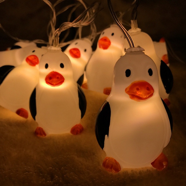 kerst 2018 new 15m 10lights cute penguin battery light string christmas decorations for home merry