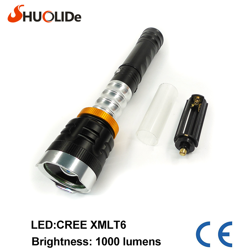 Hot sale  CREE XMLT6 1000LM Aluminum Waterproof Zoomable LED Flashlight Torch white light for 18650 Rechargeable or AAA Battery cree q5 led signal light yellow white red torch bright light signal lamp for 1x18650 or 3 x aaa battery flashlight led