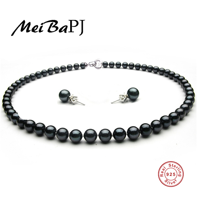 [MeiBaPJ]New Sale 8-9mm Big Size Natural Freshwater Black Pearl Beads Noble Jewelry Sets S925 Silver Wedding Women Jewelry