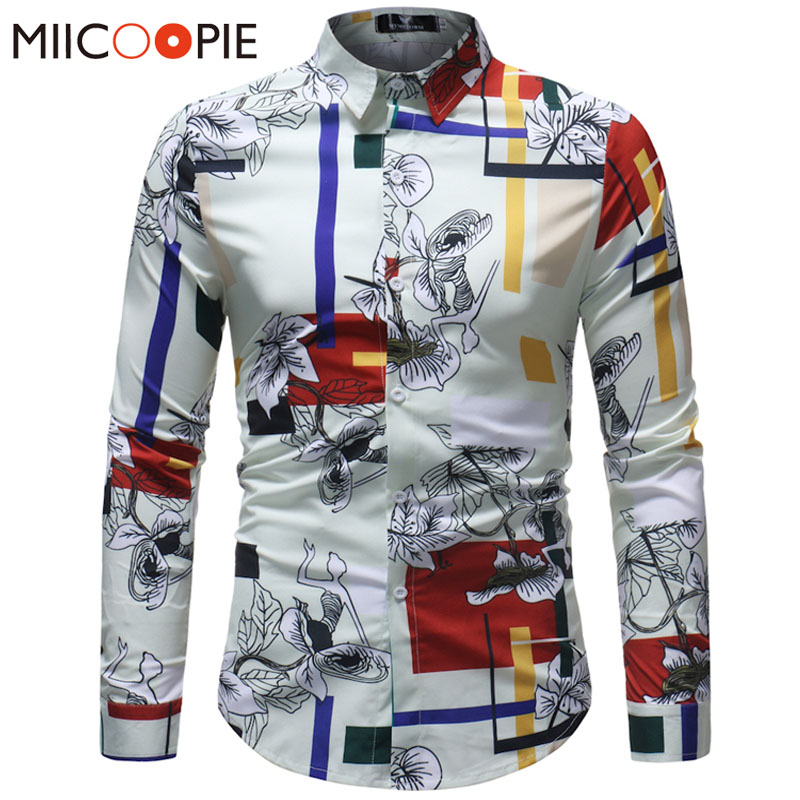 Men Hawaiian Shirt Long Sleeve Floral Print Mens Dress Formal Shirts Camisa Social Masculina Men Casual Slim Fit Tops Shirt 5XL
