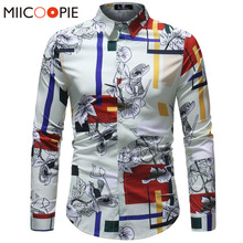 Men Hawaiian Shirt Long Sleeve Floral Print Mens Dress Forma