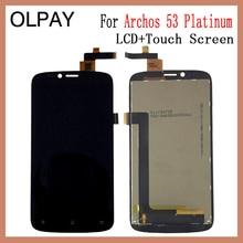"""OLPAY 5.3 """"100% Archos 53 プラチナ液晶表示画面フル Lcd ディスプレイのタッチスクリーンガラス送料ツール + 接着剤"""