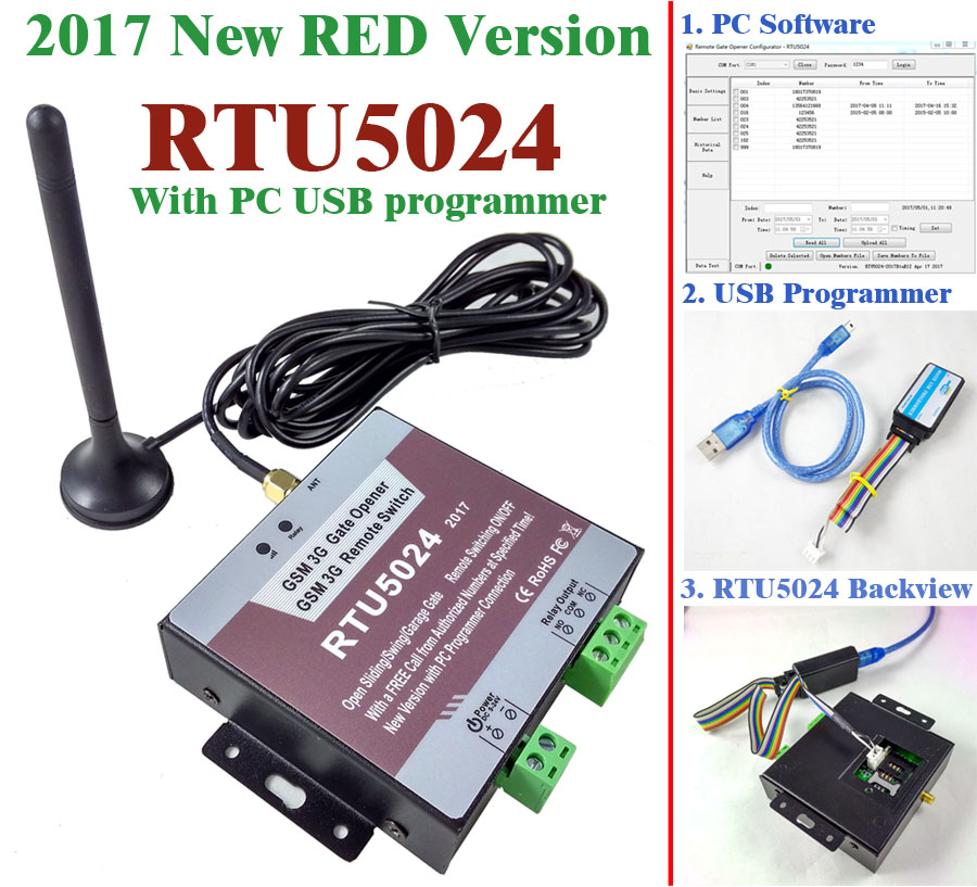 Free shipping 2017 New RTU5024 GSM Gate Opener Relay Switch Remote Access Control Wireless Sliding gate Opener By Free Call ...