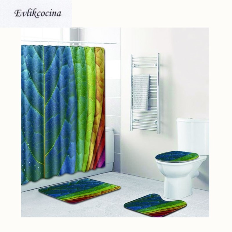Blue Green Yellow Red Leaf Banyo Paspas
