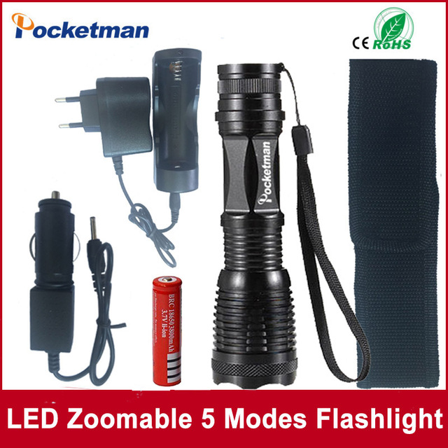 zk50 4000LM Aluminum E17 XM-L T6 LED Torches Zoomable LED Flashlight Accessories Torch Lamp For 3XAAA or 18650 Battery
