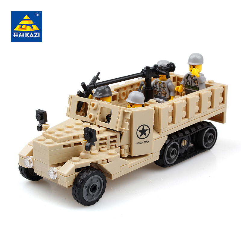 KAZI M2 Half track Truck Military Model Building Blocks Sets Car Bricks Brinquedos Intelligent Toys for Children 6+ Ages 82003 new original kazi 6409 city truck model building blocks sets 163pcs lot deformation car bricks toys christmas gift toy sa614