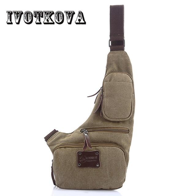 51a8e991f58e IVOTKOVA 2018 Men Cross Body Bags Canvas New Designer Male Chest Packs Hot  Sale Young Man
