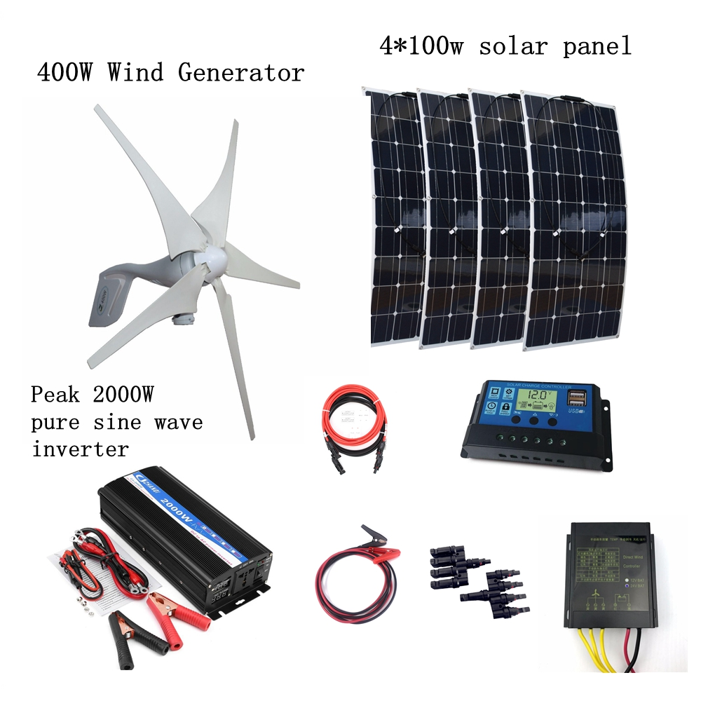 400W Wind Generator + 4*100W Solar Panels+Peak 2000W Inverter+12V/24V Controller Houseuse Wind Solar 800W Solar System 6pcs 100w flexible solar modules 400w vertical wind generator with 4000w inverter and controllers 1000w wind solar power system