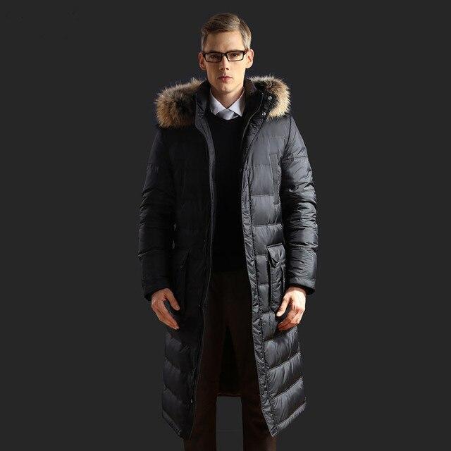 2016 Nova Casual X-longa dos homens Jaqueta de Inverno 90% Pato Branco para baixo Europeu Plus Size Guaxinim Colarinho Outwear Casaco Grosso Casaco Quente casacos