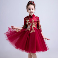 New Children Girls Chinese Style Embroidery Princess Dress Kids Dresses For Girls Wedding Party Toddler Girl Clothes Vestido S68