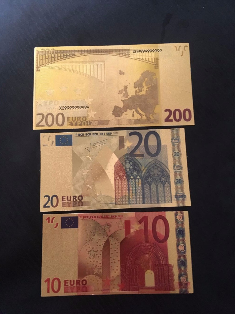 3pcs 10 20 200 euros banknote 24k bill gold plated foil for Wohnwand 200 euro