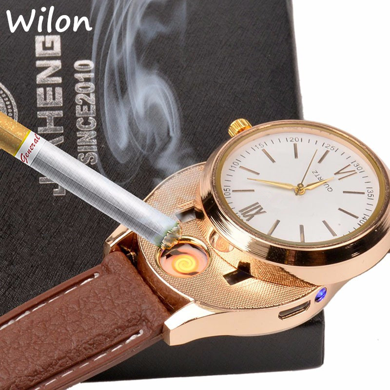 1pcs hot USB Charging sports Lighter Watch Men s Casual Quartz Wristwatches with Windproof Flameless Cigarette