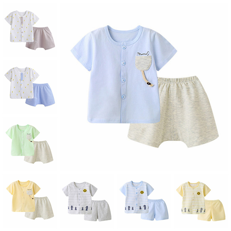 2018 Summer Fashion Clothes Set Baby Boy Cotton Print Top+Solid Shorts 2pcs Suit Newborn Casual Tracksuit Q1