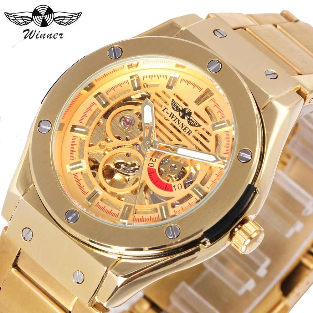 WINNER Top Brand Luxury Men Mechanical Watch Skeleton Golden Stainless Steel Strap Fashion Design Business Automatic Wristwatch luxury brand golden winner luminous automatic mechanical skeleton dial watch mens stainless steel bracelet band men wristwatch