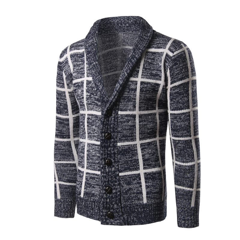 New Trend Shawl Collar Cardigan Sweater Men Pull Homme 2016 Mens Plaid Design Slim Fit Front