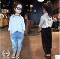2016 new spring kids girls shirt cotton shirt coat hollow Korean letters